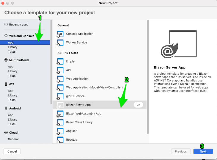 Visual Studio new project page