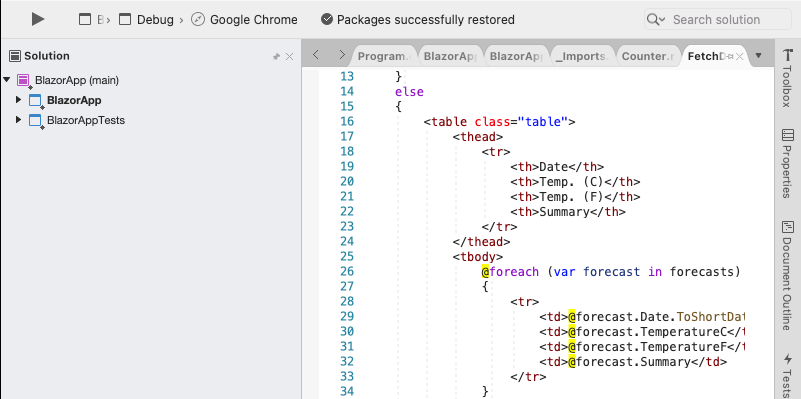 Visual Studio with Blazor sample app set up