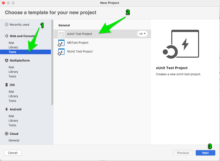 Visual Studio new test project page