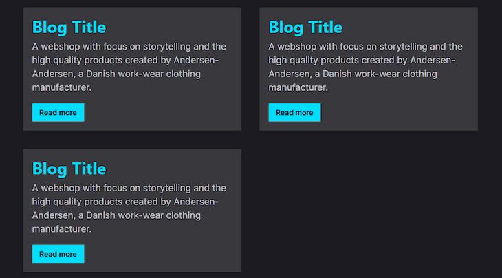 Image of three basic blog cards