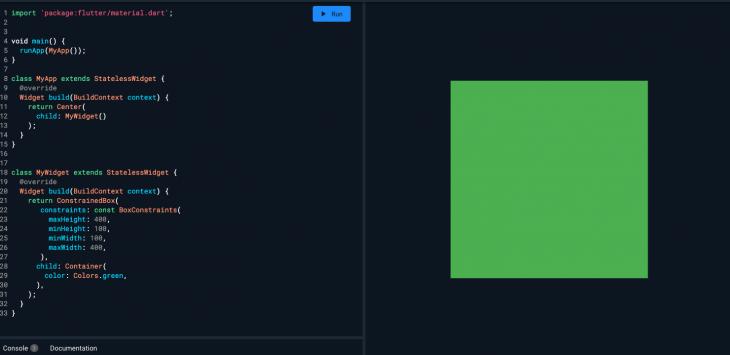 best practice flutter app fixed green box constraints