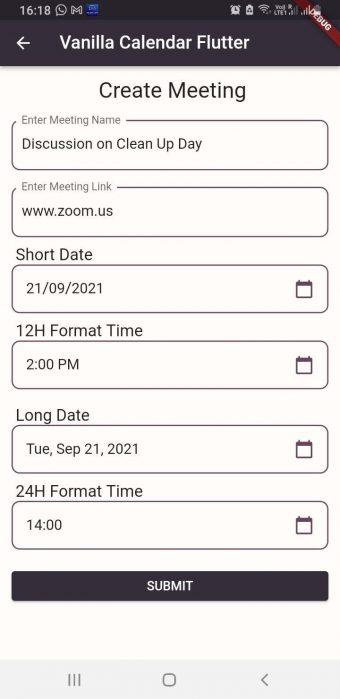 Flutter Calendar Widget Demo Form Filled