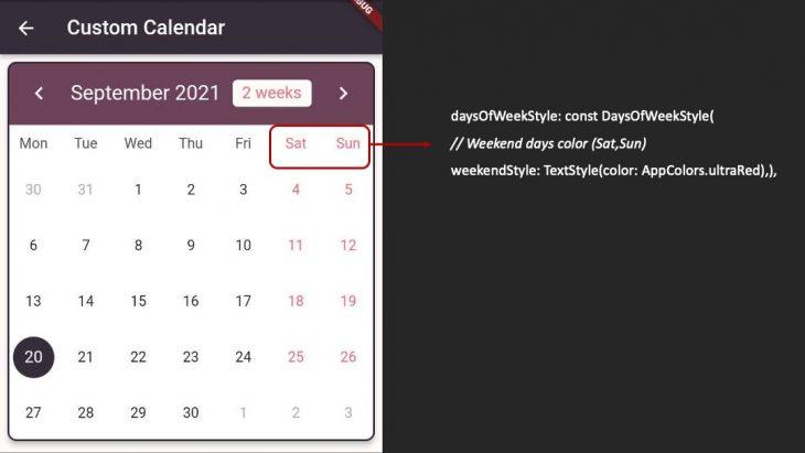 Flutter Custom Calendar Days Styling