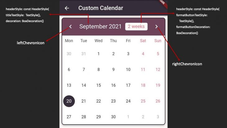 Flutter Custom Calendar Header Styling