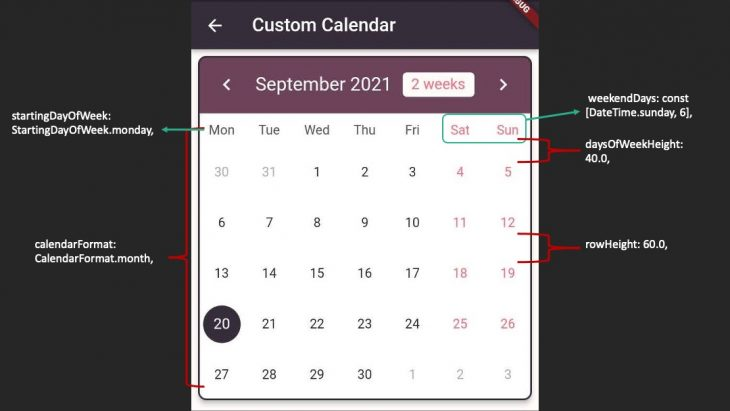 Flutter Custom Calendar Styling