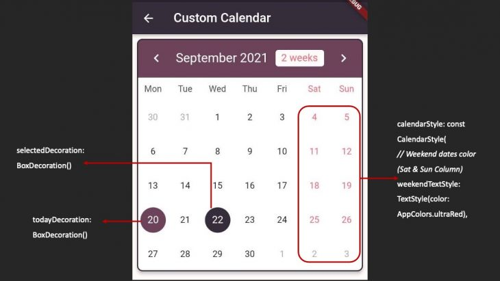 Flutter Dates Styling Properties