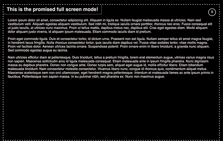 The full-screen modal is opened, revealing additional text