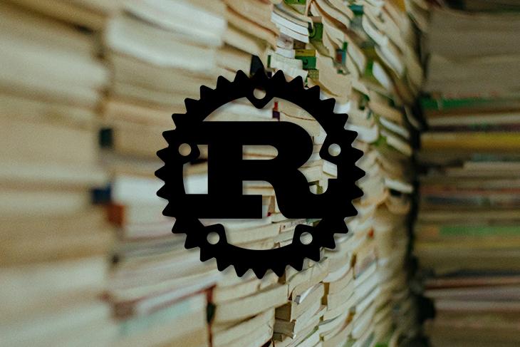 Rust Logo Over Stacks of Books