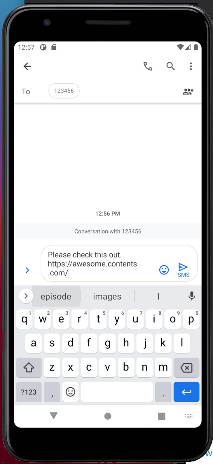 Sharing a URL via SMS