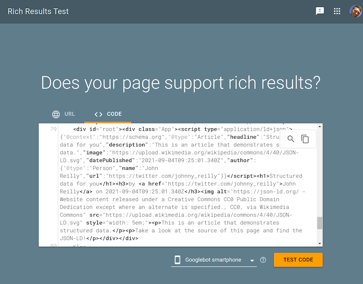 Google's Rich Results Test Tool