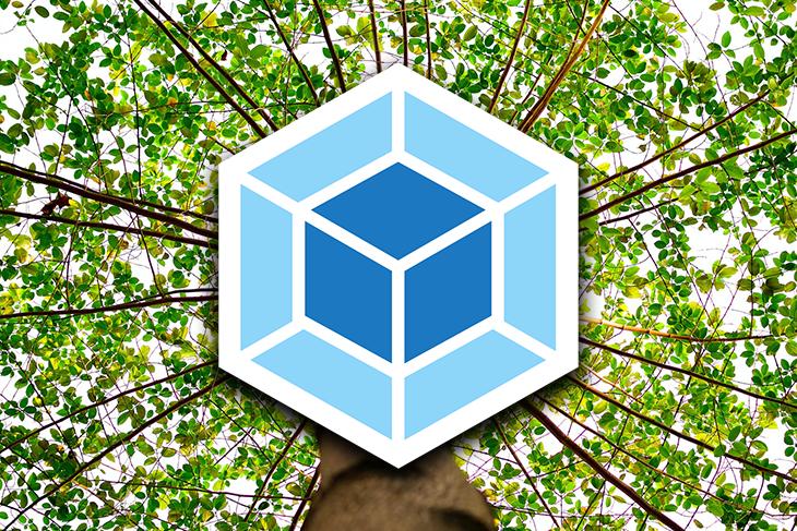 Webpack Logo Over a Tree Background