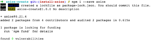 Successful npm download of Axios.create