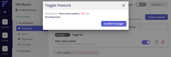 Flagsmith toggle feature for HN story points