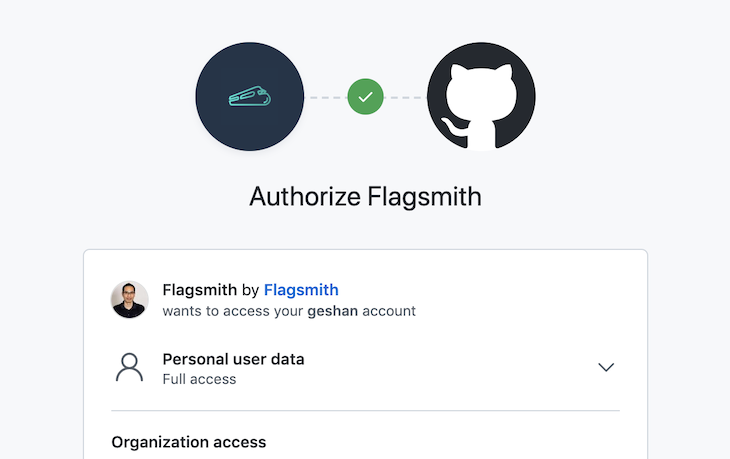 GitHub authorize Flagsmith approval page