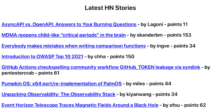 Latest HN stories with points