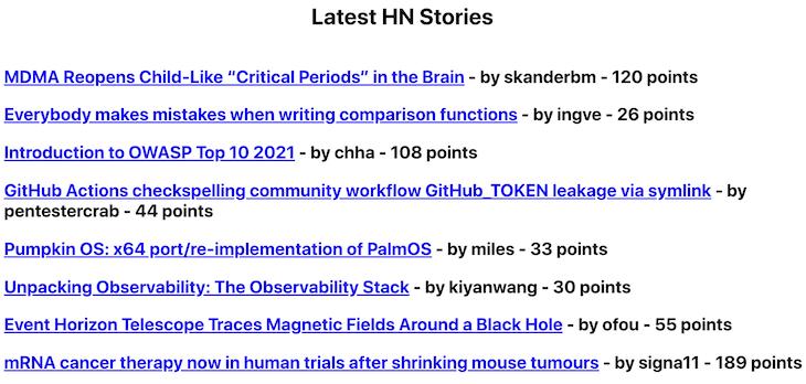 Latest HN stories