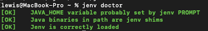 Running jenv doctor To Validate The Sanity Of The Environment