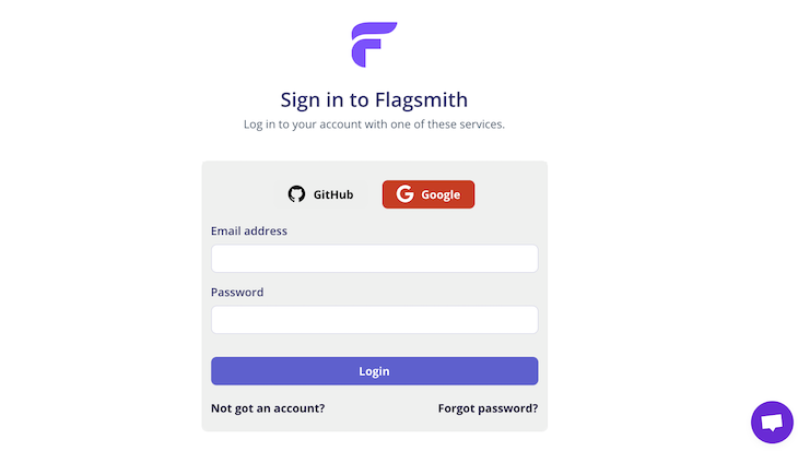 Flagsmith sign-in page