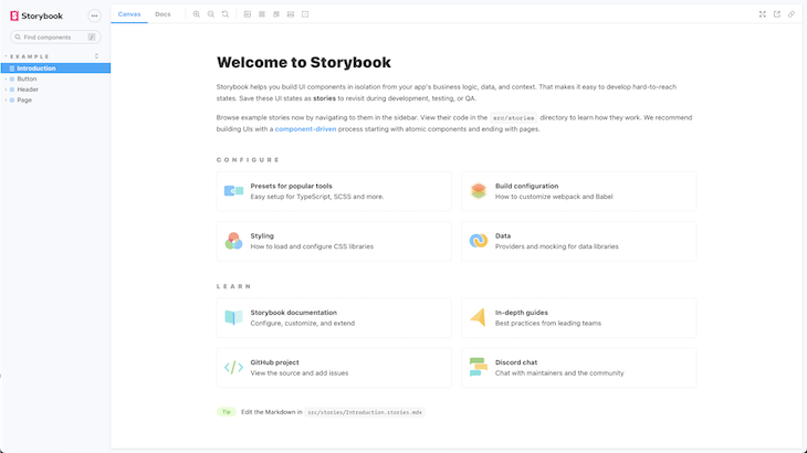Storybook welcome page