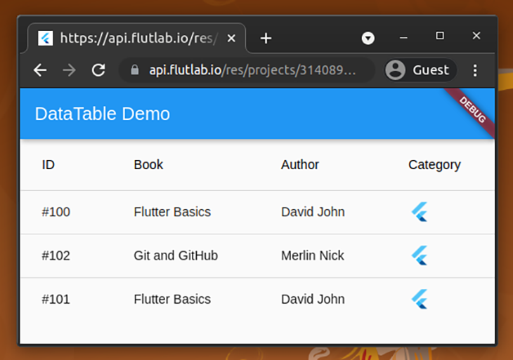 Add more widgets to the DataTable