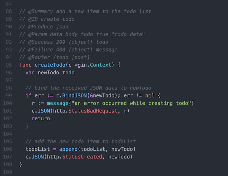 annotated form of the createTodo route