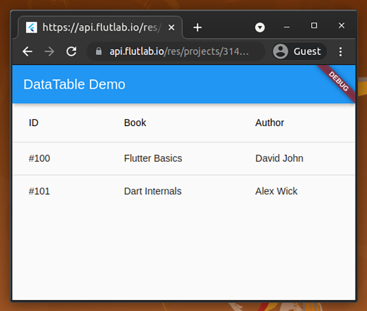 The book list in our DataTable demo
