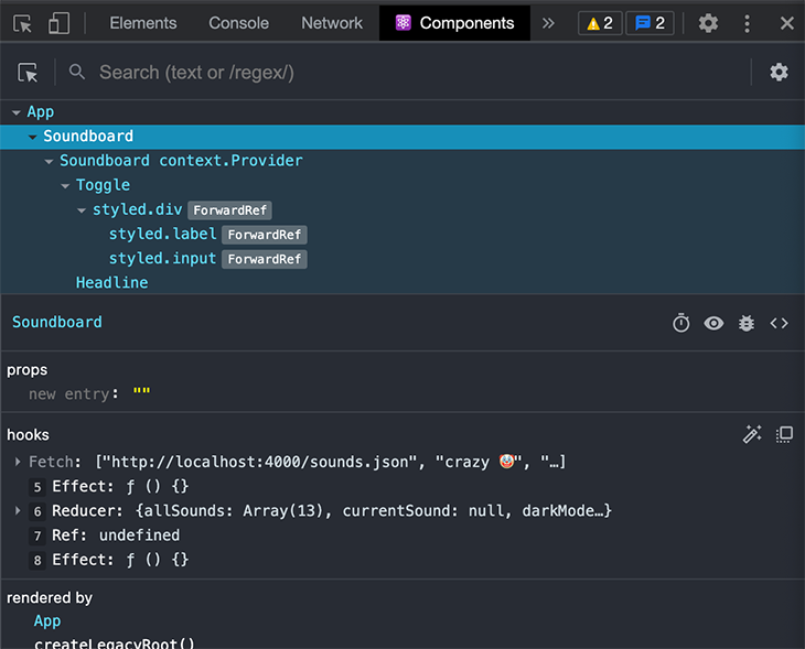 The Components tab of the React DevTools Chrome extension