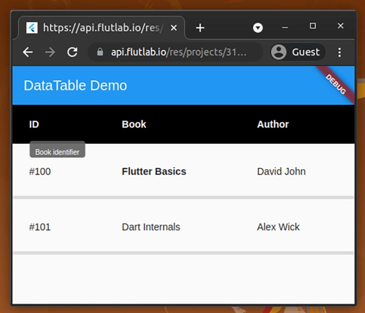 Customized DataTable demo