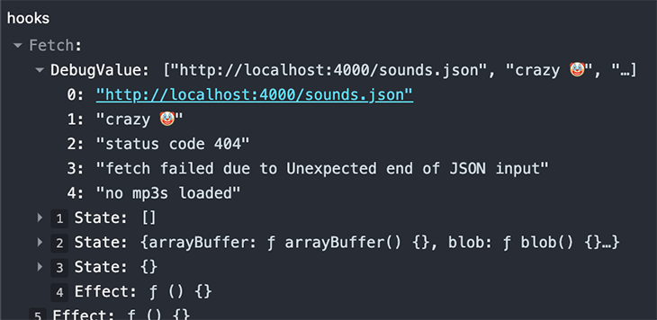 Debug output for the fetch error case