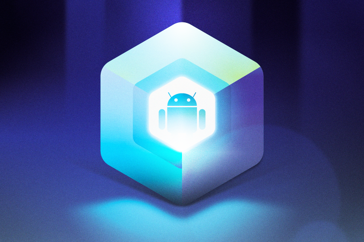 An Android Robot Inside a Blue Glowing Cube