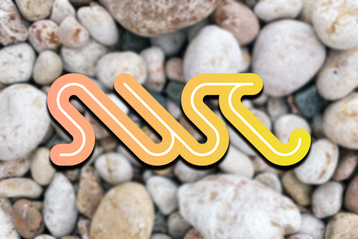 Logo Over a Pebbled Background