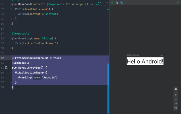 Preview in Android Studio