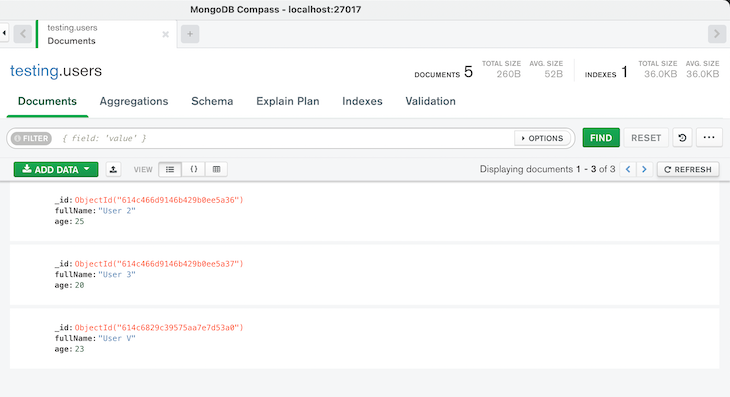 result of the delete one query in MongoDB Compass