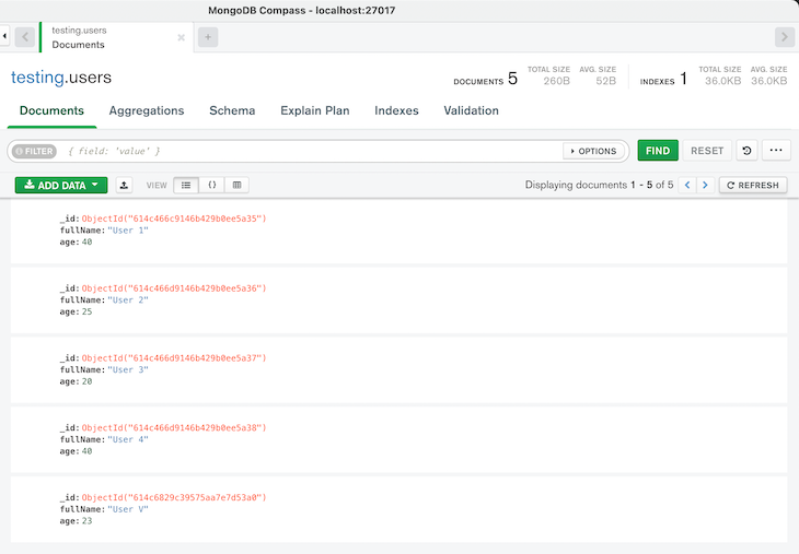result of the update many query in MongoDB Compass