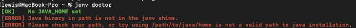 Running jenv doctor And Receiving Error Messages In Red