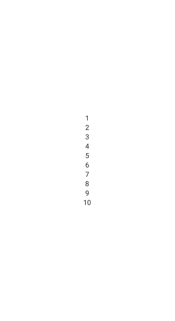 Vertical Line of Numbers