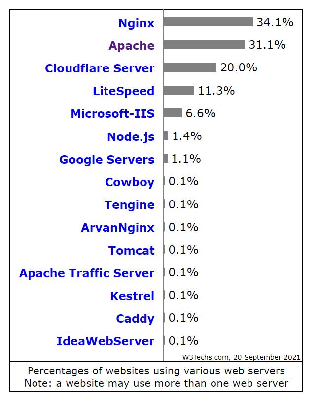 W3 Web Server Popularity By Ranking